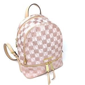 🎉HP🎉Michael Kors Rose Gold Checkerboard Backpack
